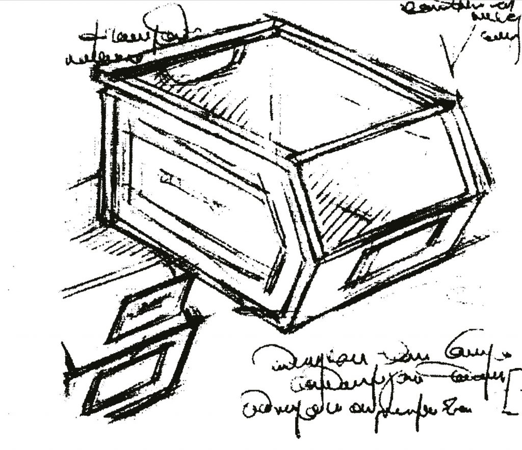 Original drawing of patented SCHAEFER storage bin
