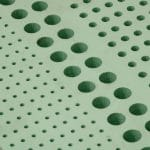 water jet holes in foam dunnage closeup
