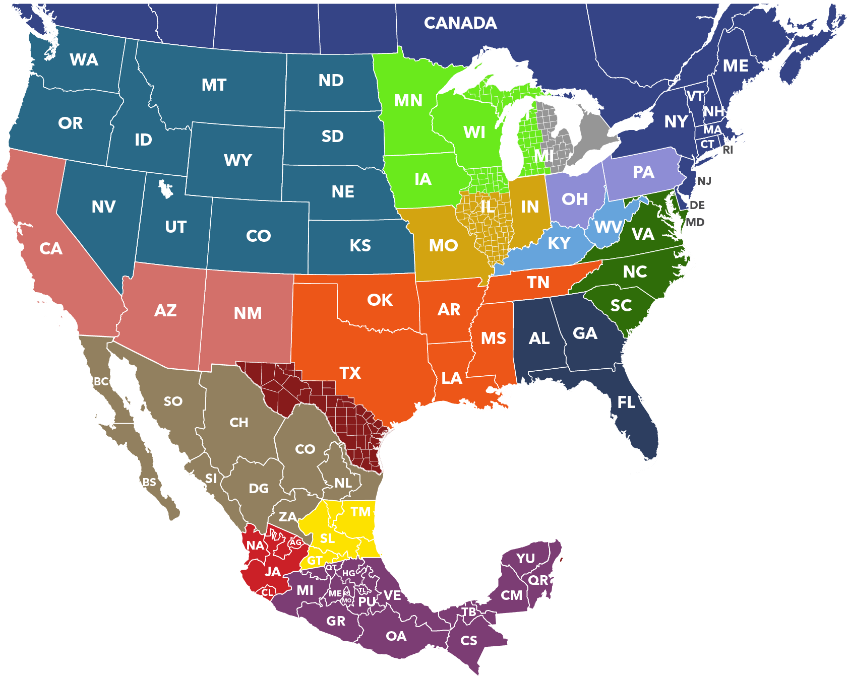 MAP OF REGIONAL PACKAGING SPECIALISTS IN NORTH AMERICA