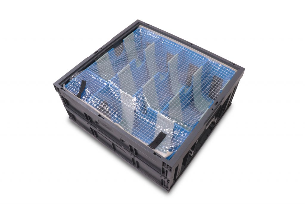 Plastic Corrugated Divider Set with Soft Shield Slings and Xlpe Foam Cushions in CF242211 Collapsible Tote